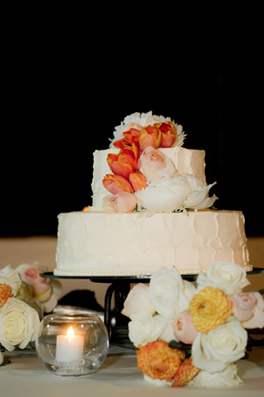 peach and white wedding cake Cabo Azul Resort Destination Wedding in Mexico
