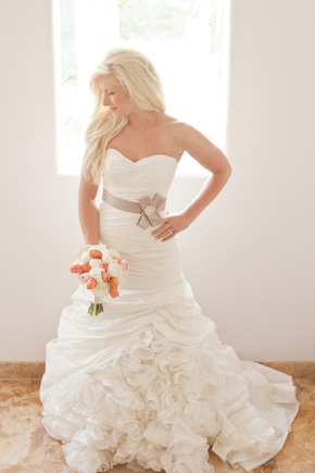 peach bridal bouquet Cabo Azul Resort Destination Wedding in Mexico