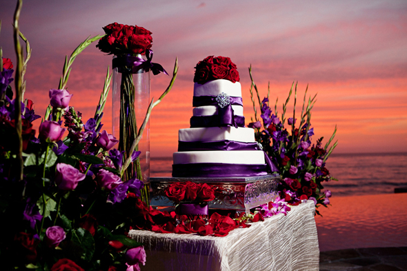 red and purple wedding cake Destination Wedding in Rosarito, Mexico