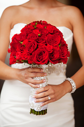 red bridal bouquet1 Destination Wedding in Rosarito, Mexico