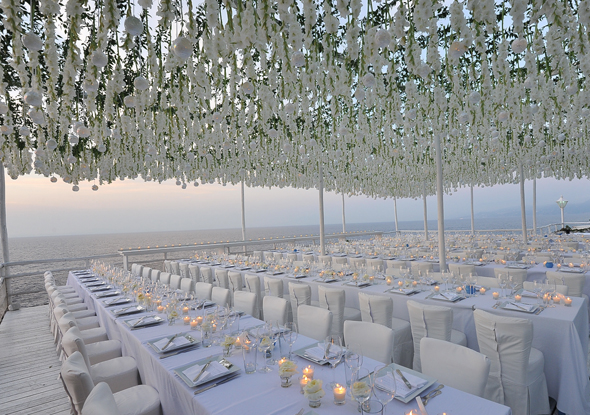 white wedding decor Formal Destination Wedding in Italy