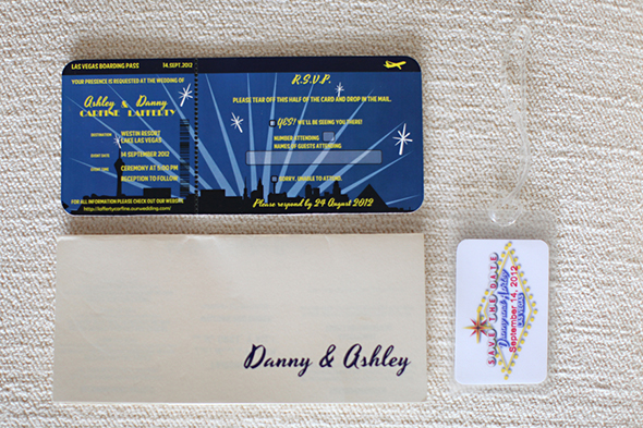 airplane ticket wedding invitation Lake Las Vegas Destination Wedding
