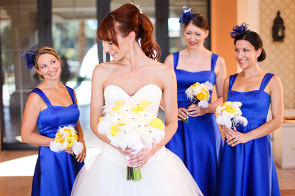 blue and yellow bridal parties Lake Las Vegas Destination Wedding
