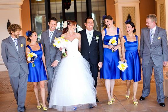 blue and yellow wedding Lake Las Vegas Destination Wedding