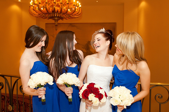 blue bridesmaid dresses2 Four Seasons Las Vegas Destination Wedding
