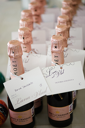 champagne wedding favors Cabo San Lucas Villa Destination Wedding