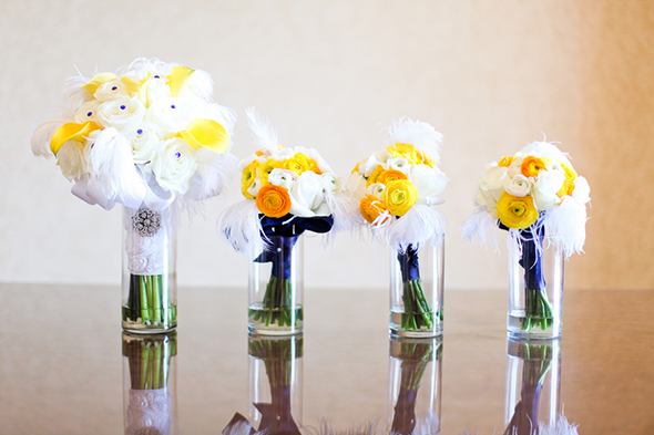 feather bouquets Lake Las Vegas Destination Wedding