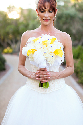 feather bridal bouquet1 Lake Las Vegas Destination Wedding