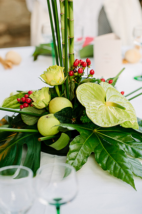green centerpieces Red, White and Green Destination Wedding in Bagnolo Piemonte, Italy