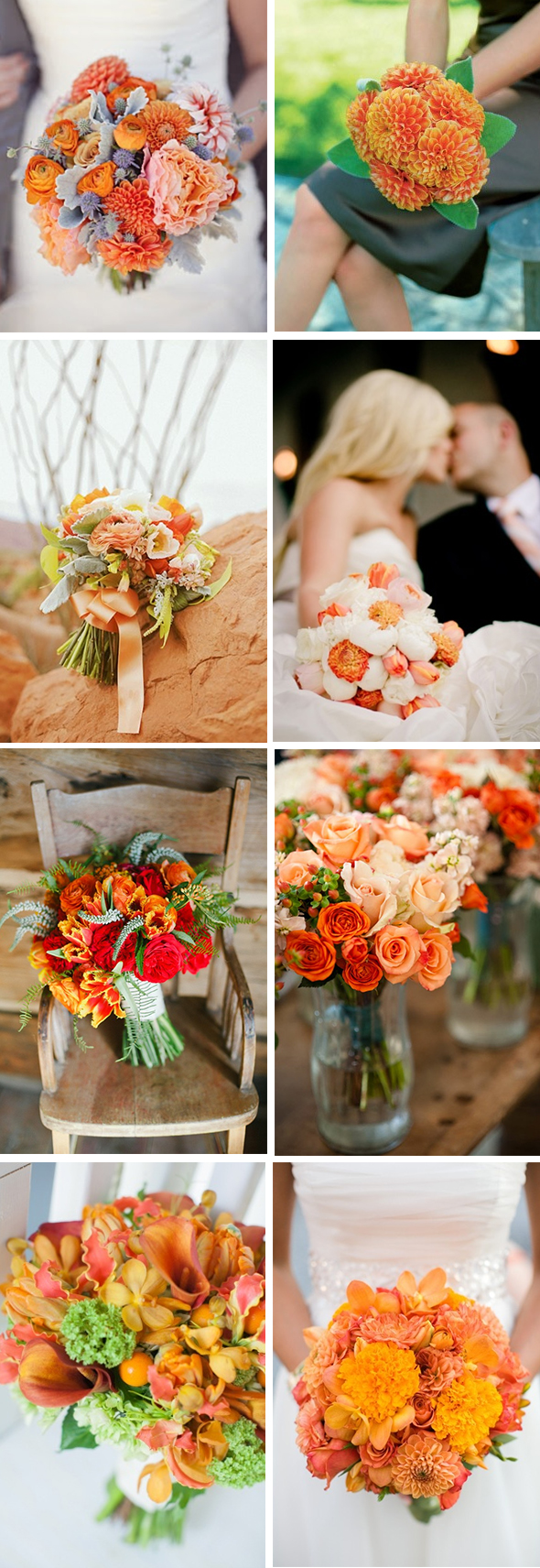 orange bridal bouquets