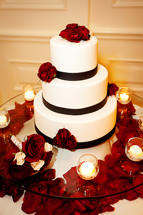 red and white wedding cake Four Seasons Las Vegas Destination Wedding