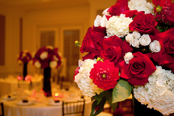 red and white wedding flowers Four Seasons Las Vegas Destination Wedding