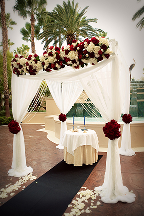 red and white wedding Four Seasons Las Vegas Destination Wedding