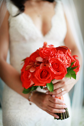 red bridal bouquet One&Only Palmilla Destination Wedding