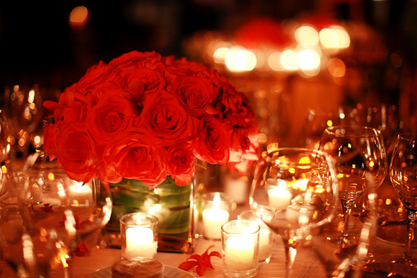 red centerpieces One&Only Palmilla Destination Wedding