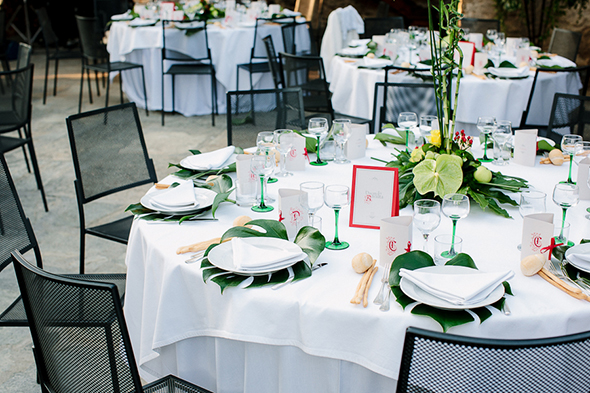 red white and green wedding