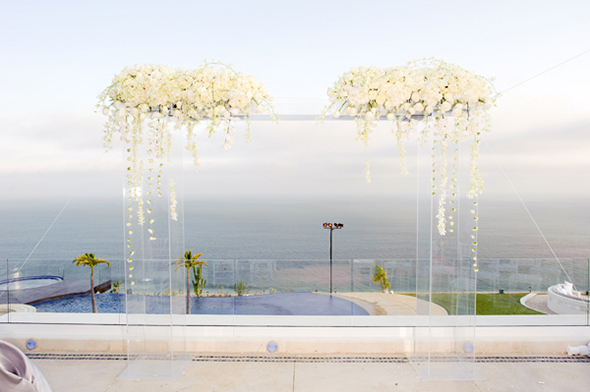 white wedding ceremony decor Cabo San Lucas Villa Destination Wedding