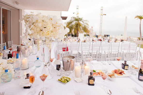 white wedding tables Cabo San Lucas Villa Destination Wedding