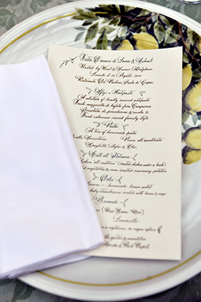 italy wedding menus