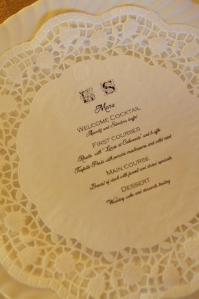 lace wedding menus Intimate Destination Wedding in Tuscany, Italy