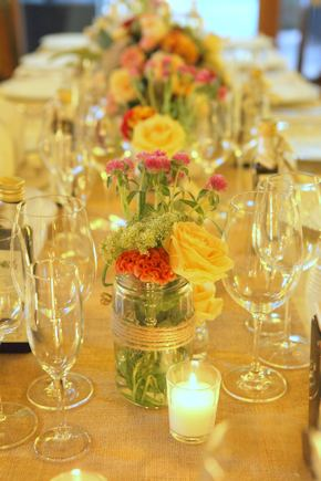 mason jar centerpieces Intimate Destination Wedding in Tuscany, Italy