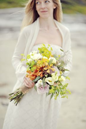 orangic bridal boquet Elopement on Vancouver Island, BC