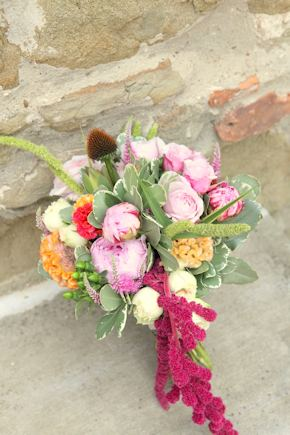 pink and orange bouquet Intimate Destination Wedding in Tuscany, Italy