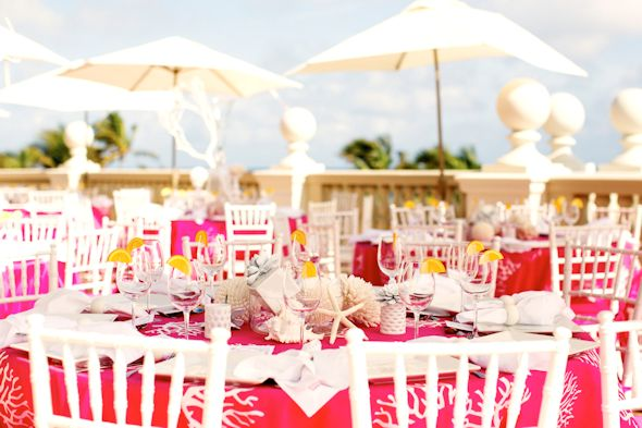 pink and white beach wedding Pink and White Beach Wedding Ideas