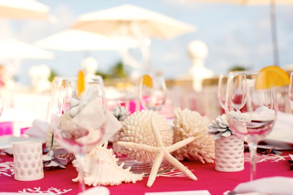 pink and white wedding Pink and White Beach Wedding Ideas