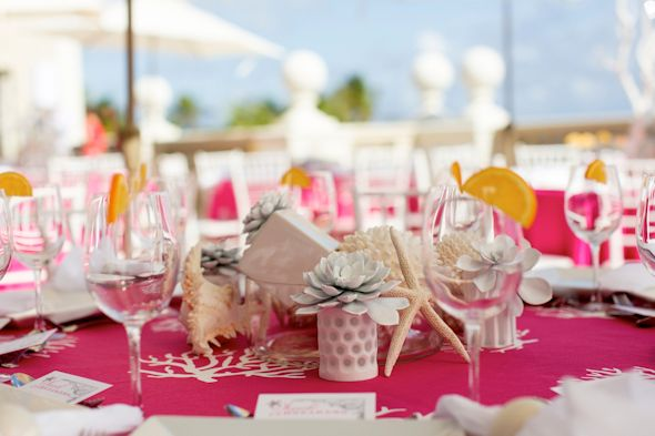 pink and white weddings Pink and White Beach Wedding Ideas