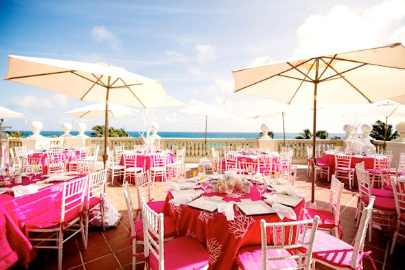 pink wedding Pink and White Beach Wedding Ideas