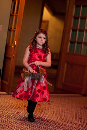 red flower girl dress Wedding at the Four Seasons Koele Lodge Lanai, Hawaii