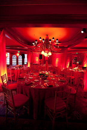 red wedding lighting
