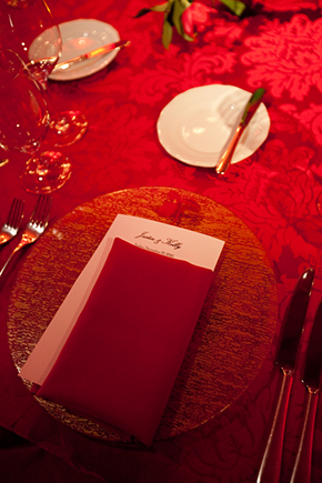 red wedding linens