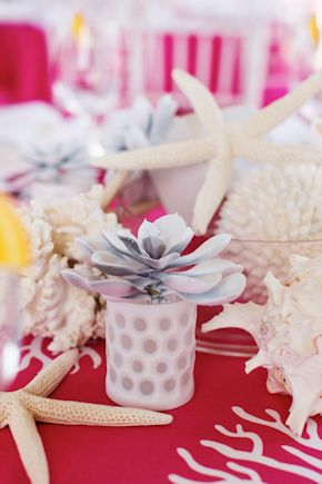 shell centerpiece Pink and White Beach Wedding Ideas