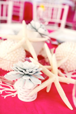 shell centerpieces Pink and White Beach Wedding Ideas