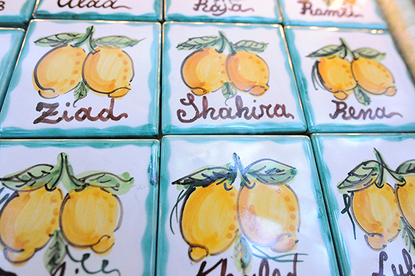 tile placecards Capri, Italy Wedding Welcome Dinner