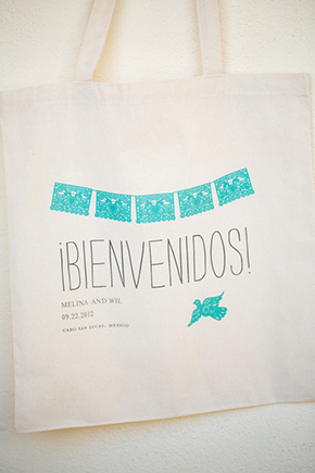 mexico wedding welcome bag A Pastel Wedding at the Pueblo Bonito Pacifica in Cabo