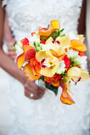 orange bridal bouquet Red + White Destination Wedding in Ibiza, Spain