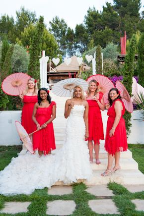 red bridesmaid dress Red + White Destination Wedding in Ibiza, Spain