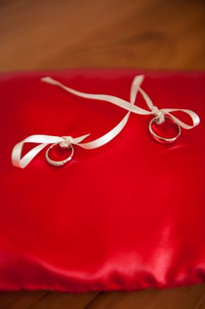 red ring pillow Red + White Destination Wedding in Ibiza, Spain