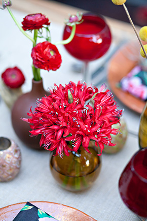red wedding flowers Mexico Destination Wedding Table Ideas
