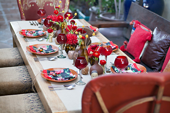 red wedding tables