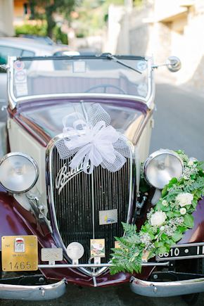 vintage wedding car Destination Wedding in Imperia, Italy