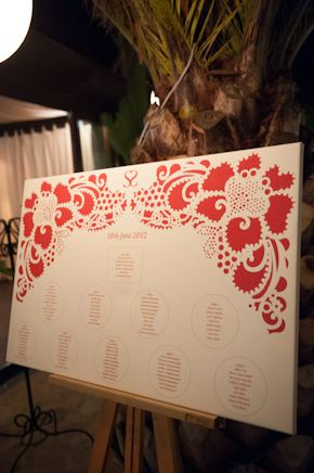 wedding seating chart board Red + White Destination Wedding in Ibiza, Spain