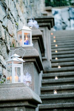 white wedding laterns Destination Wedding in Imperia, Italy