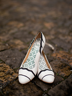 black and white wedding shoes1 A Sweet Elopement at a Castle in Switzerland