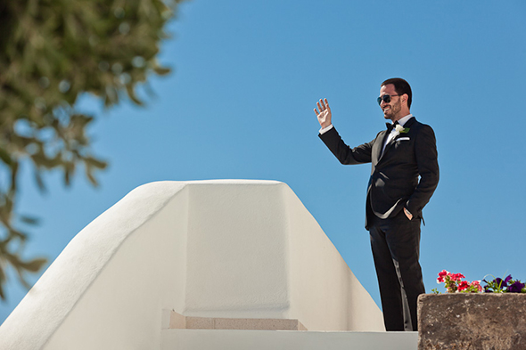 black tie groom Swanky Destination Wedding in Greece