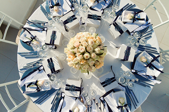 blue and white wedding tables