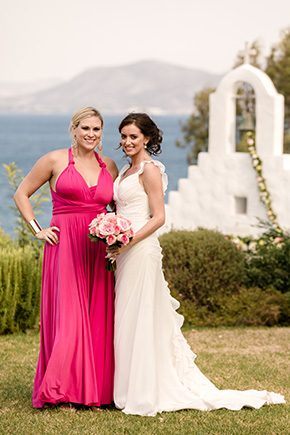 bright pink bridesmaid dress Traditional Destination Wedding in Greece